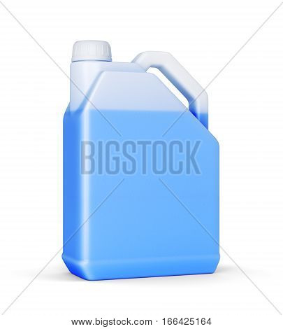 Plastic canister with blue car liquid isolated on white background. Antifreeze or wiper in jerry can. 3D illustration