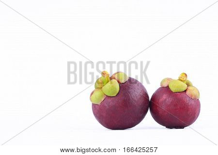 mangosteen queen of fruits (Garcinia mangostana Linn) on white background healthy purple mangosteen fruit food isolated