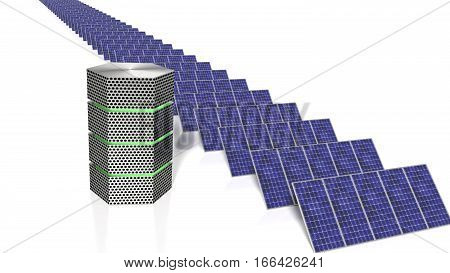 Long row of solar panels next to a green glowing supercomputer energy efficient computing concept 3D illustration