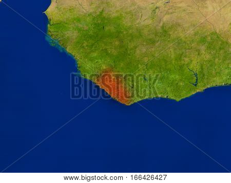 Liberia From Space In Red