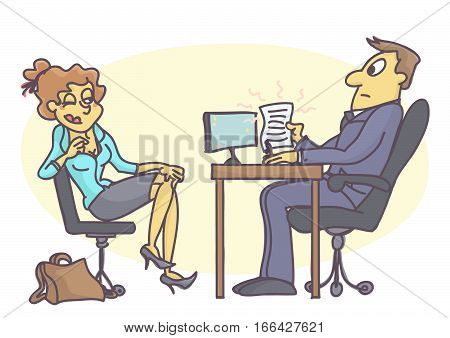 Funny vector cartoon of young trainee woman seducing personnel manager, bad and unprofessional behavior at job interview.