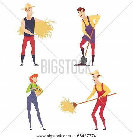 Set of farmers using agricultural implements. Farmer with a shovel, a pitchfork. Farmer in a wheat field working on the tablet. Farmer harvesting. Vector illustration.