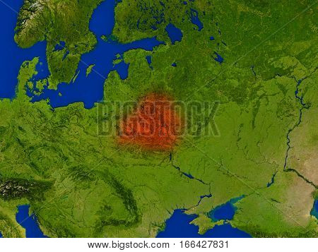 Belarus From Space In Red