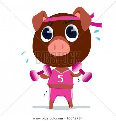 Illustration of a pig on white background