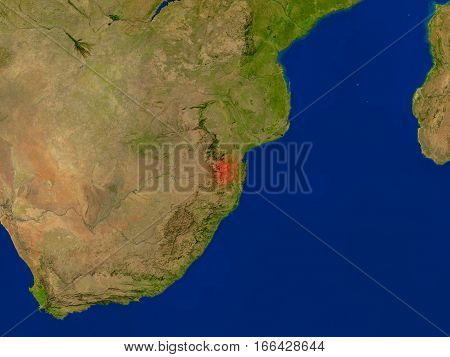 Swaziland From Space In Red