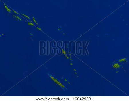 Vanuatu From Space In Red