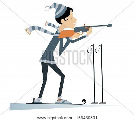 Shooting smiling biathlon competitor woman cartoon illustration