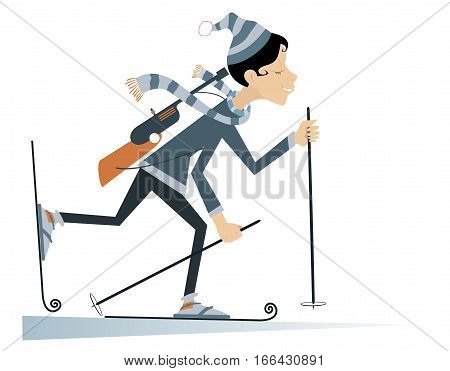 Funny cartoon biathlon competitor woman rushing to victory