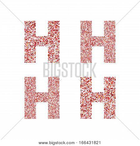 Alphabet letter H with red heart on Valentine's Day. Valentine`s Day Alphabet of Hearts. Love ABC