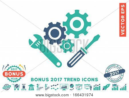 Cobalt And Cyan Mechanics Tools icon with bonus 2017 year trend clip art. Vector illustration style is flat iconic bicolor symbols, white background.
