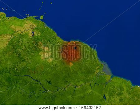 Suriname From Space In Red