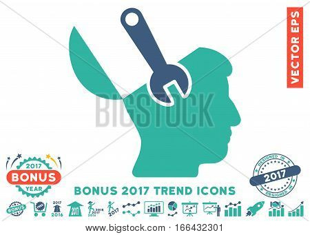 Cobalt And Cyan Mind Wrench Surgery icon with bonus 2017 trend design elements. Vector illustration style is flat iconic bicolor symbols, white background.
