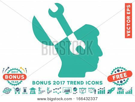 Cobalt And Cyan Mind Wrench Tools pictogram with bonus 2017 trend elements. Vector illustration style is flat iconic bicolor symbols, white background.