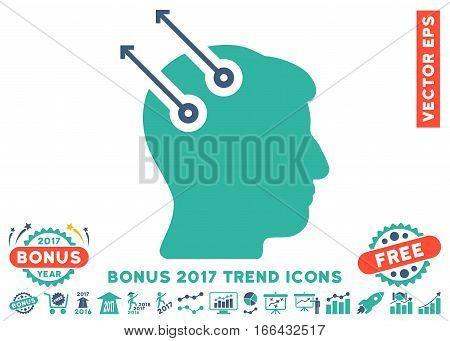 Cobalt And Cyan Neural Interface Plugs icon with bonus 2017 year trend pictures. Vector illustration style is flat iconic bicolor symbols, white background.