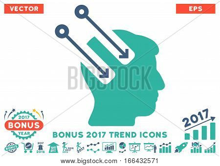 Cobalt And Cyan Neural Interface icon with bonus 2017 trend elements. Vector illustration style is flat iconic bicolor symbols, white background.