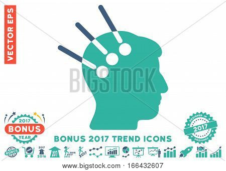 Cobalt And Cyan Neural Interface pictograph with bonus 2017 year trend symbols. Vector illustration style is flat iconic bicolor symbols, white background.