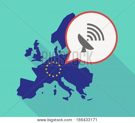 Long Shadow Eu Map With A Satellite Dish