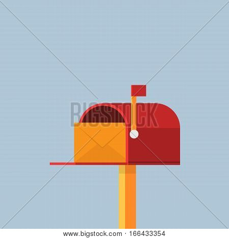 Flat Red Mailbox Illustration, Yellow mail envelope in the red mailbox