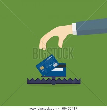 Debt Trap Illustration, Financial Trap, Hand Going To Take Credit Card In Bear Trap