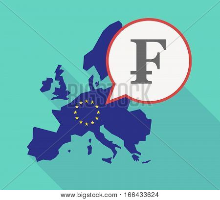 Long Shadow Eu Map With A Swiss Franc Sign