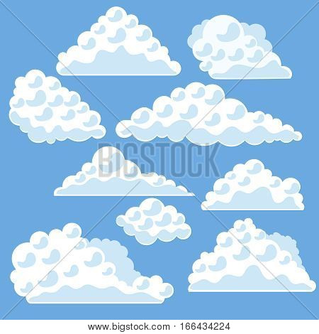 Cartoon Fluffy Clouds on The Blue Sky Flat Design Style. Vector illustration