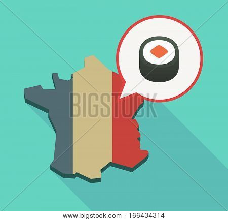 Long Shadow France Map With A Piece Of Sushi Maki