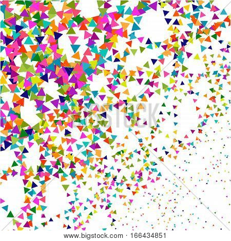 Abstract dotted surface. Background with colored particles. Halftone effect illustration. Colorful triangles on white background
