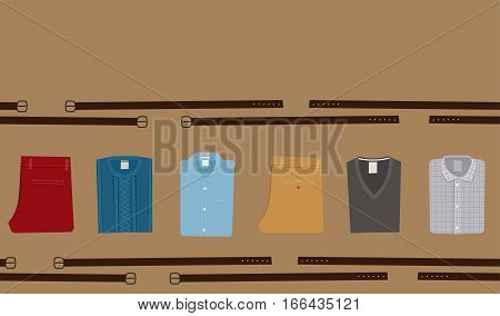 Clothes Fashion background. Menswear concept. Flat style Men's Clothing Vector illustration eps 10