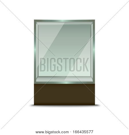 Realistic Empty Glass Shop Window for Fashion Exhibition Presentation or Advertising Business. Vector illustration
