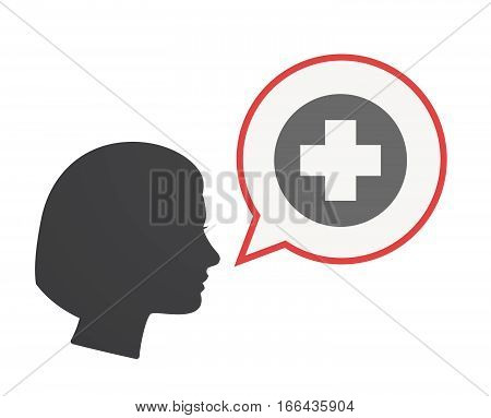 Isolated Female Head With A Round Pharmacy Sign