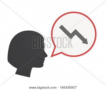 Isolated Female Head With A Descending Graph