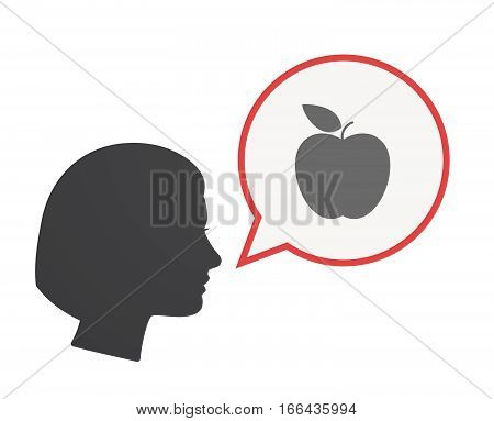 Isolated Female Head With An Apple