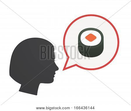 Isolated Female Head With A Piece Of Sushi Maki