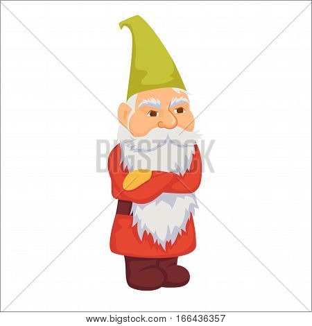 Gnomes. Angry dwarf. Fairy tale. Fantastic character set. Magical stories vector clip art. Cute garden decorations