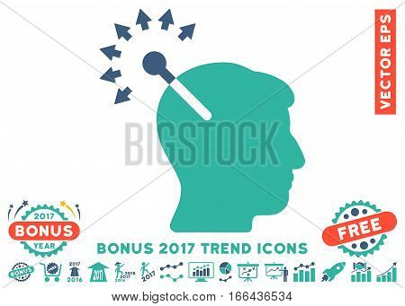 Cobalt And Cyan Optical Neural Interface pictogram with bonus 2017 year trend design elements. Vector illustration style is flat iconic bicolor symbols, white background.