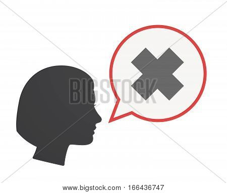 Isolated Female Head With An Irritating Substance Sign