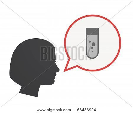 Isolated Female Head With A Chemical Test Tube