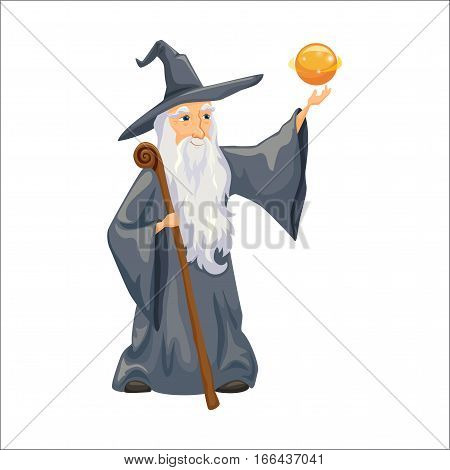 Wizard. Old man magic staff, hat and mantle. Fairytale. Fantastic kingdom character. Magical stories vector cute clipart. Sorcerer conjures