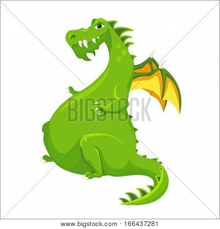 Dragon. Cute monster with wings. Fairy tale. Fantastic animal character. Magical stories vector clip art. Funny dinosaur kids print