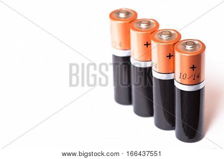 Battery aa alkaline cadmium chemical on white background