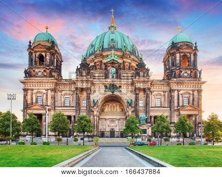 Berlin Berliner dom at night in Germany