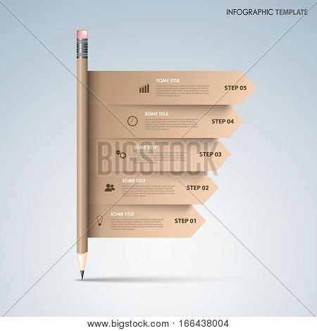 Info graphic with brown pencil and directional stripes template vector eps 10
