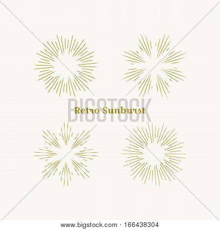 Sunburst frames set. Retro gold Sun burst shape. Vintage explosion logo label badge. Firework design element. Old light rays radiating from a center. Retro vintage hipster style