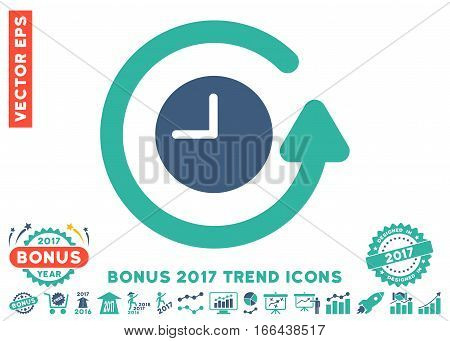 Cobalt And Cyan Restore Clock pictogram with bonus 2017 trend symbols. Vector illustration style is flat iconic bicolor symbols, white background.