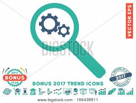 Cobalt And Cyan Search Gears Tool pictogram with bonus 2017 year trend images. Vector illustration style is flat iconic bicolor symbols, white background.