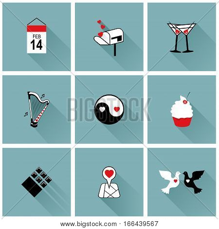 Set of icons for Valentines day, Mothers day, wedding, love and romantic events. Ideal for valentines day and wedding