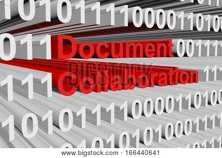 Document collaboration in the form of binary code, 3D illustration