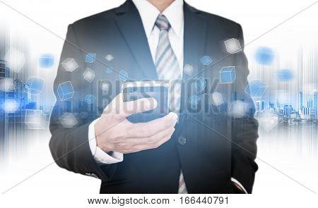 Businessman using smart phone, business network communication technology