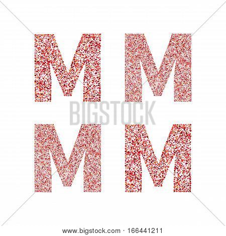 Alphabet letter M with red heart on Valentine's Day. Valentine`s Day Alphabet of Hearts. Love ABC