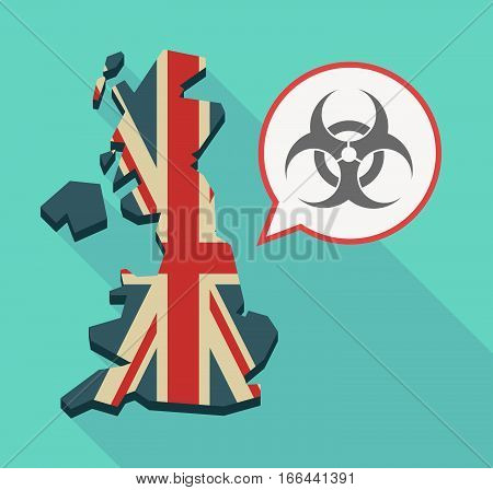 Long Shadow Uk Map With A Biohazard Sign